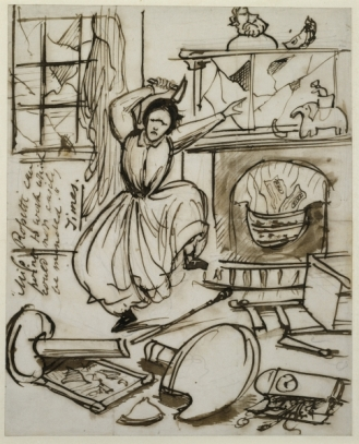 Cartoon of Christina Rossetti having a tantrum after reading 'The Times' review of her poetry, 1862 (pen & ink on paper)