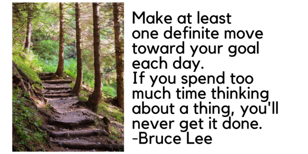 Make at leastone definite move toward your goal each day. If you spend too much time thinking about a thing, you'll never get it done. -Bruce Lee